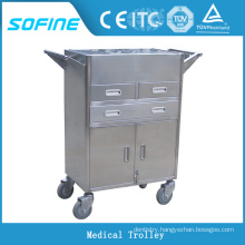 SF-HW3720 stainless steel hospital nurse trolley