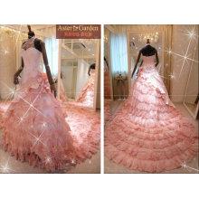 Impresionante nuevo estilo atractivo vestido de boda de encaje rosa RB054