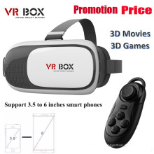 2016 HD Vr Box 2.0 Realidad virtual gafas 3D Vr auriculares casco con Bluetooth Remote Controller