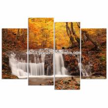 Осенний лес Холст Печать для гостиной / 4 панели Водопад фотографии Печать / Желтое дерево Пейзаж Холст Wall Art