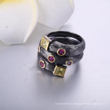 Мода ювелирные изделия черный позолоченные циркон камень кольцо стекло