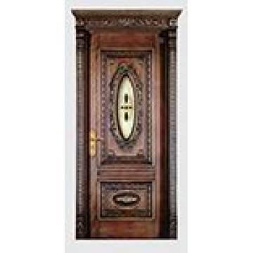 Porte composée en bois solide intérieure de couleur de café avec la sculpture