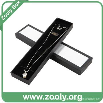 Boîte à bijoux en papier noir / boîte à collier avec couvercle