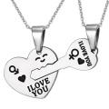 Acier inoxydable Couples amour pendentif clé