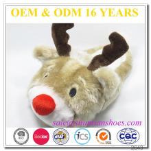 Zapatilla divertida de la felpa de la Navidad de la novedad animal del reno de los adultos baratos al por mayor de la novedad
