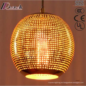 Lámpara colgante moderna de metal bronce redondo con restaurante