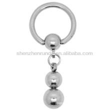 Deux sphères en série en forme d'acier inoxydable plaqué argent pour femmes pendentifs pendentifs boucles d'oreilles bijoux