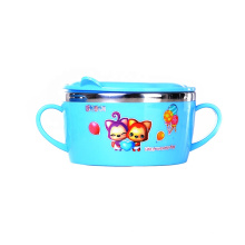 Hot selling cute stainless steel dinnerware spoon fork kid bowl set with lid