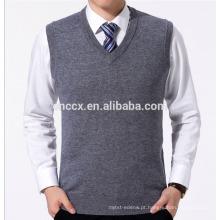 PK18ST046 planície malha cinza V pescoço camisola colete para homens