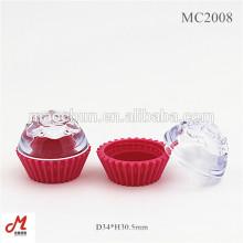 MC2008 Récipient cosmétique en forme de gâteau de couvercle transparent, petit pot en poudre libre, joli pot cosmétique