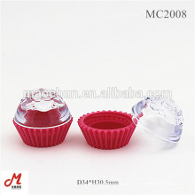 MC2008 Clear lid cake shaped cosmetic container, small loose powder jar, cute cosmetic jar