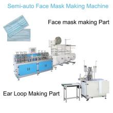 Masque jetable de masque facial semi-automatique plat 3ply faisant la machine avec la soudeuse de boucle d'oreille