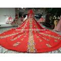 2018 neues Design chinesischen Stil Brautkleid Fabrik Versorgung vorne kurz lang zurück bestickt Luxus rote Farbe Brautkleid