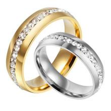 Anillo de boda cúbico de la zirconia de la forma redonda plateada oro de la plata titanium de la comodidad de 6m m