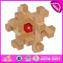 Brinquedo de madeira de alta qualidade do enigma do fechamento da inteligência para crianças, jogo de madeira do cérebro do brinquedo para crianças, brinquedo de madeira da sorte para o bebê W03b020