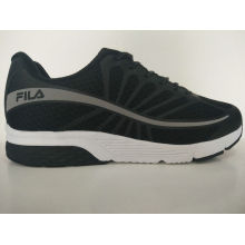 Men′s Black PU Rubber Outsole Running Shoes