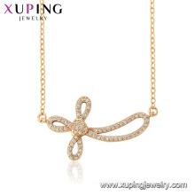 44554 xuping 18k Goldfarbe Großhandel Mode Religion verzerrt umgekehrte Kreuz Halskette
