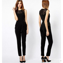 OEM Chiffon Mulheres Sexy Jumpsuite Sexy Ladies Playsuit Black Lace Romper