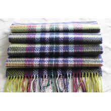 Bufanda de lana de cachemira con diseño de espiga y cuadros