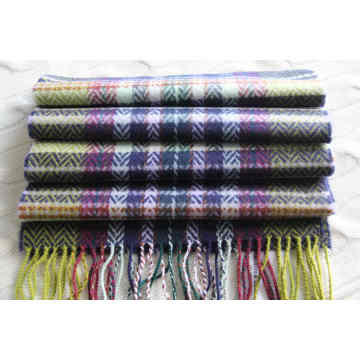Cashmere Woolen Scarf with Herringbone and Plaid Pattern