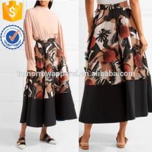 Franjas Appliqued Silk-mistura Midi Saia Fabricação Atacado Moda Feminina Vestuário (TA3010S)