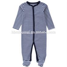 2017 Aliexpres vente chaude bébé garçons barboteuses à manches longues à capuchon rayé bleu bébé onesie pour l'escalade