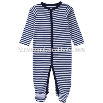 2017 Aliexpres venta caliente bebé mamelucos manga larga con capucha azul rayas bebé onesie para escalar