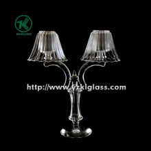 Two Poster Glass Candle Holder with Lamp for Table Ware (11*29*35)