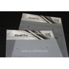 Gedruckte Kopf- und selbstklebende Plastiktüte mit Reißverschluss