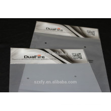 Printed header and self adhesive plastic bag with zipper