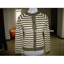 ladies' cashmere knitted cardigan stripe design 12gg