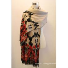 Lady Fashion Viscose Woven Jacquard Fringed Shawl (YKY4409)