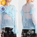 Venta caliente gasa azul de manga larga con volantes de verano Top Fabricación venta al por mayor mujeres de moda Apparel (TA0089T)
