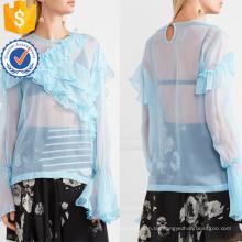 Heißer Verkauf Blau Chiffon Langarm Rüschen Sommer Top Herstellung Großhandel Mode Frauen Bekleidung (TA0089T)