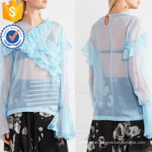 Hot Sale Blue Chiffon Long Sleeve Ruffled Summer Top Manufacture Wholesale Fashion Women Apparel (TA0089T)