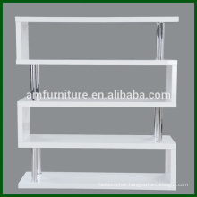 Modern MDF High Gloss White Bookshelf