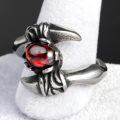 Ring Red Garnet Metal Stainless Steel Scorpion Ring