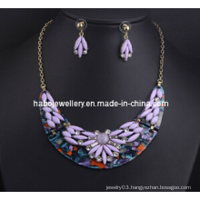 Flower Resin Stone Necklace Set (XJW13216)