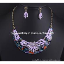 Conjunto de colar de pedra resina flor (xjw13216)
