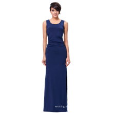 Kate Kasin Women's Sleeveless High Stretch Pleated Sexy Summer Blue Side Split Maxi Dress KK000225-2