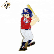 Die casting custom enamel metal baseball sports badge pin