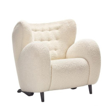 Living Room Furniture Upholstered Sofa Chair Faux Fur Fabric Lounge Chairs with footrest Leisure Armchair