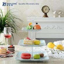 Квадратная форма Уникальный дизайн Прекрасный фарфор Персонализированные рождественские десертные тарелки, дешевые трехслойные пластины