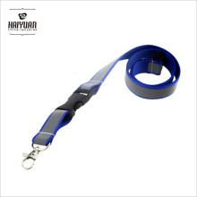 Reflektierendes Band auf blauem Polyester-Lanyard ohne Logo bedruckt