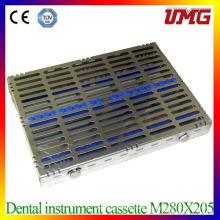 Acier inoxydable Stérilisateur Cassette Dental Instrument Plateau M280X205
