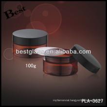 plastic amber acrylic jar 100g with black cap, plastic jars OEM service, free sample
