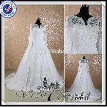 RSW441 Weiß Arabische Braut 2014 Langarm Muslim Brautkleider Bilder