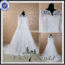 RSW441 White Arab Bridal 2014 de manga longa de vestidos de casamento muçulmano Fotos