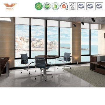 Round Shaped Office Wooden Top Metal Legs Conference Table (GRACES-MT09)