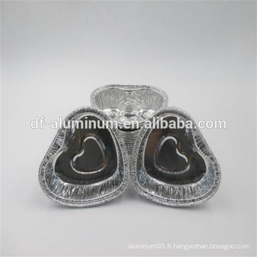 Petites tasses à tarte aux œufs jetables en forme de coeur